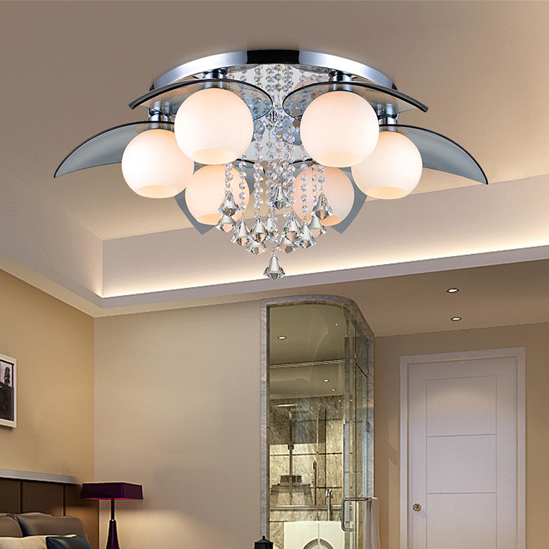 ФОТО Modern Crystal Ceiling Lamp Home Deco Glass Gobal LED Ceiling Light Fixture Remoter Control Living Room Lamp