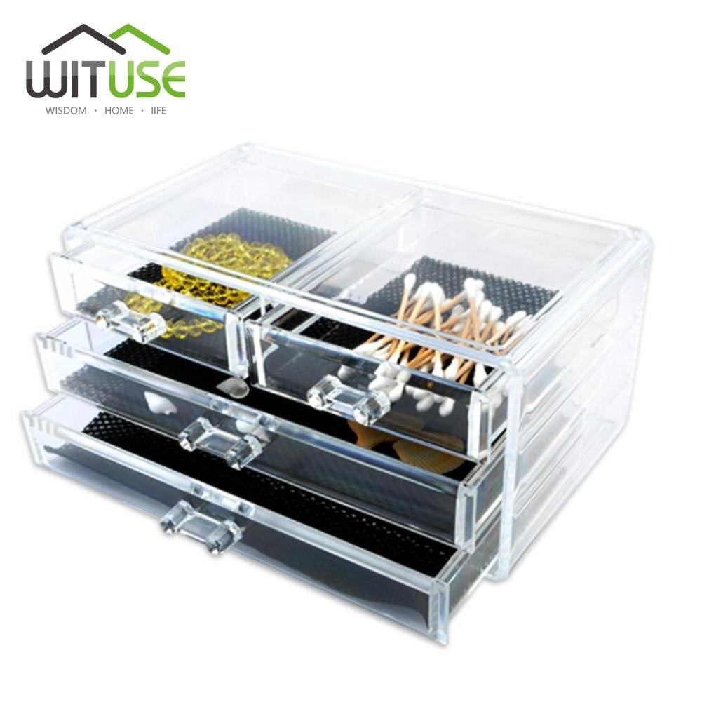WITUSE Clear Acrylic cosmetics organizer Cotton Swab box casket makeup organizers Jewelry Storage Case desktop storage bins