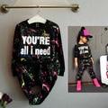 Весна одежда наборы детские девушки досуг спорт черно-белой печати костюм 10 лет девочка одежда девочка одежда дети установить осень