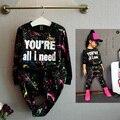 Conjuntos de roupas de primavera crianças menina lazer esporte terno de impressão em preto 10 anos de idade menina roupas de bebê menina crianças conjunto de roupas queda