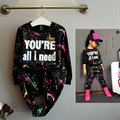 Spring clothing sets kids  girl leisure sport black printing suit  10 years old girl clothes baby girl clothing kids set fall