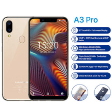 UMIDIGI A3 Pro 5.7″19:9 Full Screen smartphone 3GB+32GB Android 8.1 12MP+5MP mobile phone Dual 4G GSM+FHD+OTG unlocked cell phon