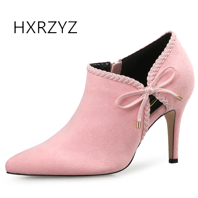 HXRZYZ women ankle boots suede pink high heeled boots spring/autumn fashion thin heel pointed toe velvet bow sexy women shoes 2017 spring autumn newest design elegant brown suede concise pointed toe high heeled over the knee boots