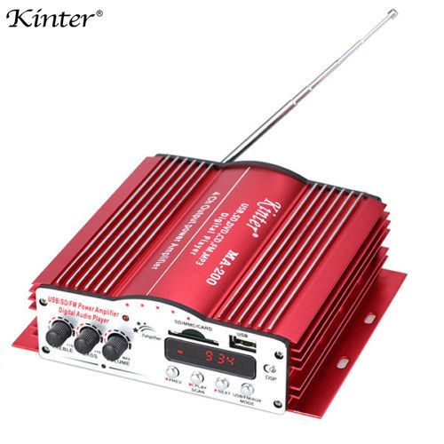 Kinter MA200 4CH 4 Channel Home Car HiFi Audio Power MP3 Amplifier With Remote Control USB SD MMC Card DVD Player MA-200 queenway airs digital car cd player change to home audio hifi professional amplifie hifi car home amp a