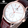 2017 forsining marca simples homens relógios moda automatic self-vento relógio pulseira de couro genuíno marrom rose case gold parar relógio