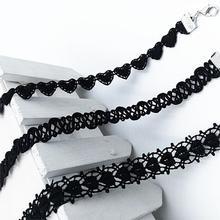 Jiayiqi 3 pçs/set chegam novas do vintage laciness preto polyster choker colar para mulheres presente da menina jóias da moda(China (Mainland))