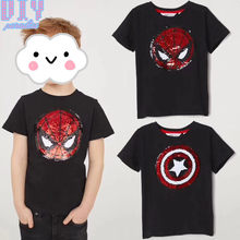 3cfc9590b8c82 2018 Spiderman Reversible Sequins Sew On Patches for clothes Kids Boy Girl T  Shirt Coat Embroidered