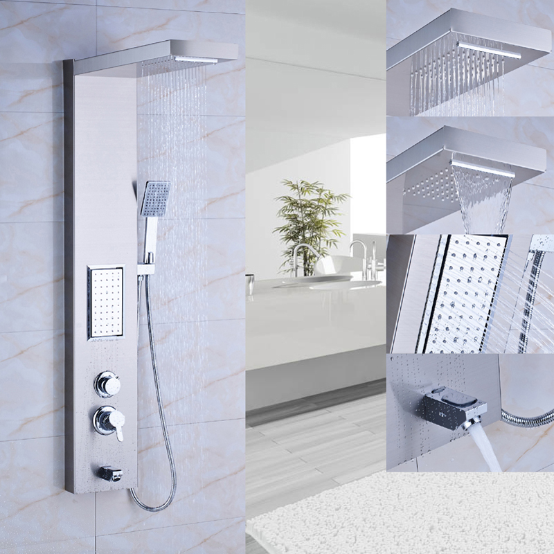 Thermostatic Rain Waterfall Shower Panel Stainless Steel Tower Shower  Column Massage System Multifunction Outlet Water Faucet In Shower Faucets  From Home ...