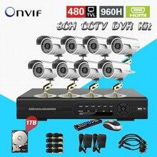 TEATE 8CH Kit DVR CCTV 1 TB HDD sistema de gravação DVR 960 H NVR e 8 channel IR vides à prova d' água vigilância CK-105