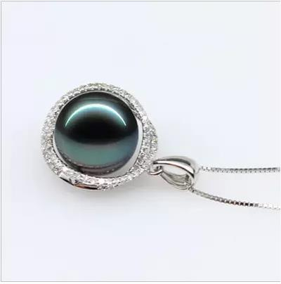 Eternal wedding Women Gift word 925 Sterling silver real gift Tahiti black pearl powder pearl pendant necklace with pendant lig все цены