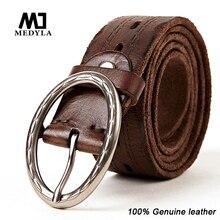 Medyla Full Grain Leather Belt High Quality Casual Strap Luxury Design Buckle Vintage Cummerbund Cowhide Genuine Leather Belts