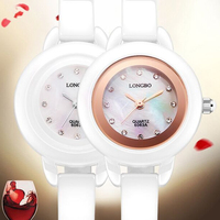 Longbo Brand High grade white Ceramic waterproof Rose Gold Dial Watches female Fashion Ladies watches wholesale 6063 Gift giving