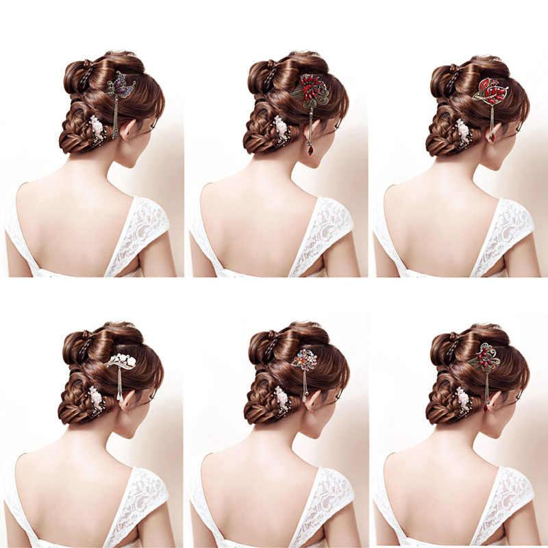 مختلف موضة النساء أنيقة بوبي دبوس دبوس الشعر الملونة حجر الراين عصا الشعر