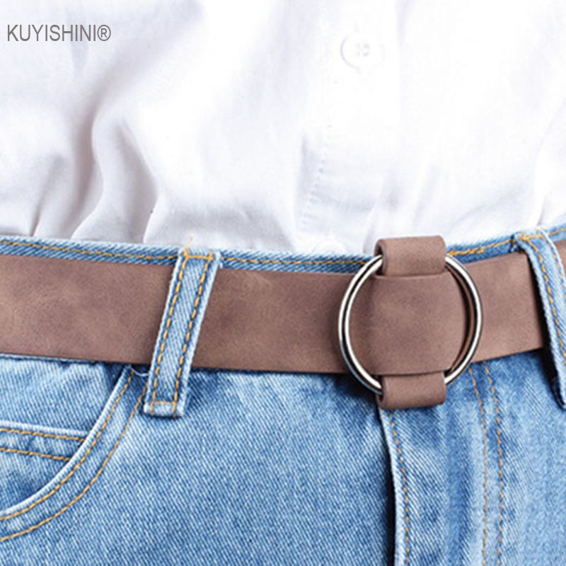 Female Casual Round Buckle Wide Belts Women Dress Jeans Belt Woman Ladies Faux Suede Leather Straps Ceinture Black Pink Red