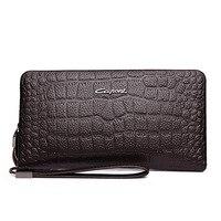 IMIDO genuine leather alligator print pattern classic fashion men clutch long wallet men pouch long purse