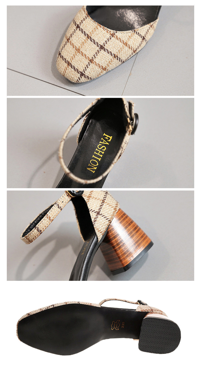 High Heels Shoes Women Pumps Square Toe Summer Sandals Thick Heels Plaid Casual Good Quality Female Office Shoes Comfortable 9