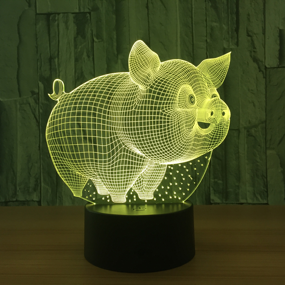 Lovely Pig 3D Night Light Animal Lamp Remote Touch Swithc LED 7 Colors LED USB 3D Illusion Lamp For Home Decor As Kids Toy Gift