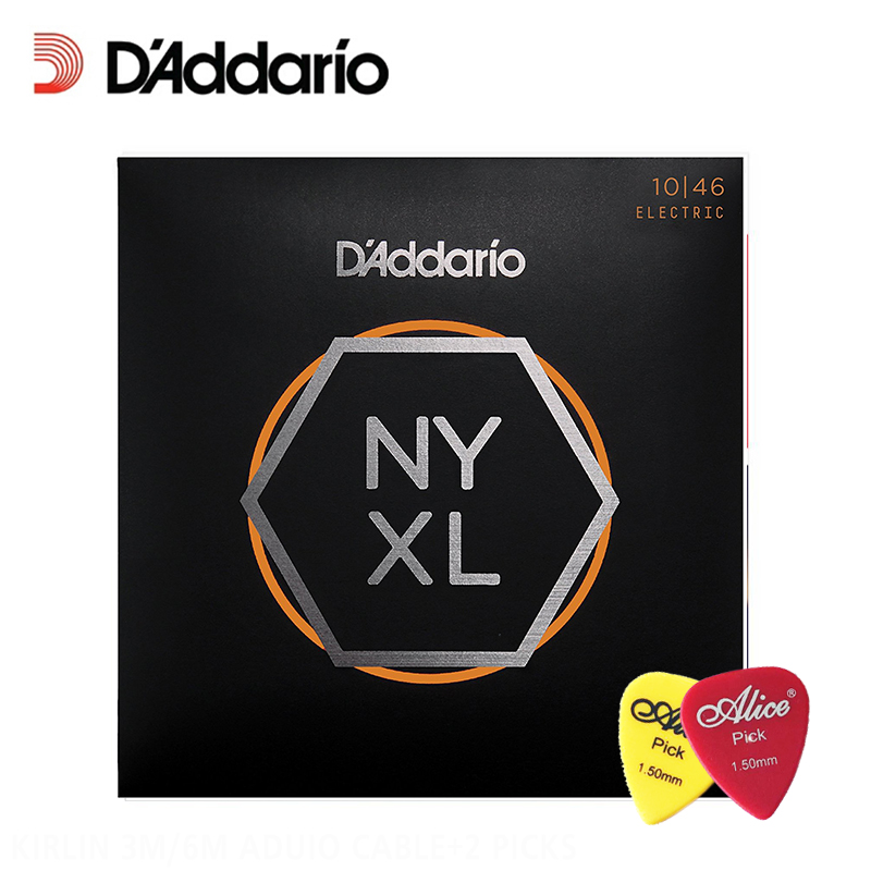 D'Addario NYXL1046 Nickel Plated Electric Guitar Strings, Light, 10-46 Daddario Guitar Strings (With 2pcs picks) d addario daddario exl110 american made nickel wound electric guitar strings regular light 10 46