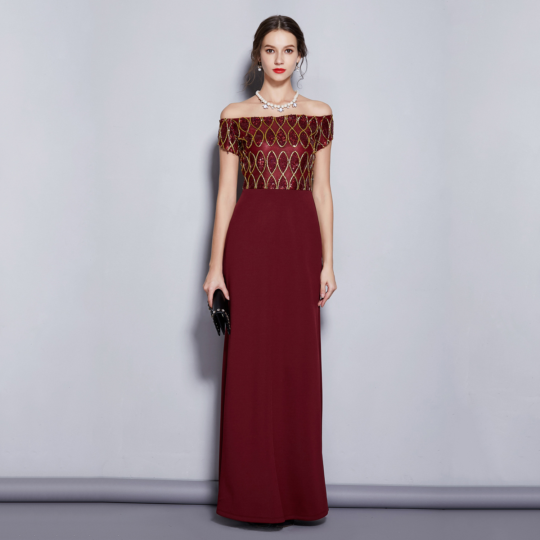 Long A Line Formal   Evening     Dress   Off The Shoulder Elegant Prom Party Gowns Burgundy Wedding Bride   Dresses   Vestido De Festa