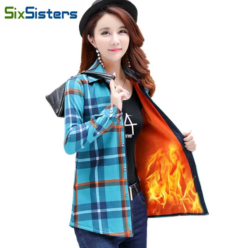 Kadife kalın sıcak kadın ekose gömlek kadın üstleri artı boyutu M-XXXL kadın ceket kış ince Blusas Femininas Chemise Femme HS1836