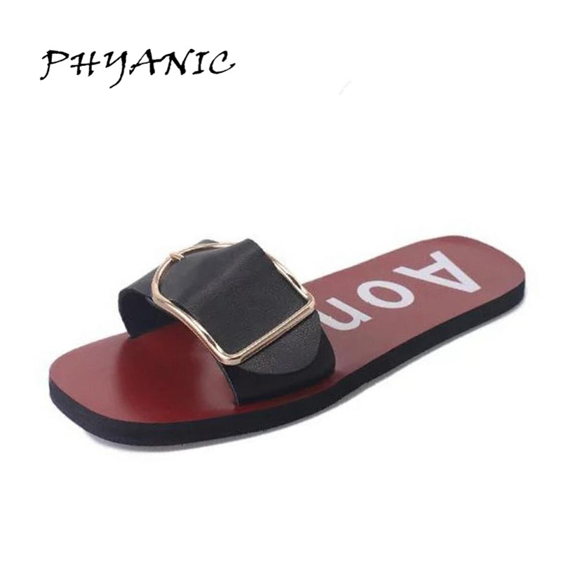 PHYANIC 2017 Woman Buckle Sandals Fashion Woven Casual Flat Heel Slipper Female Shoes New Ladies Soft Summer Beach Shoes PHY2010 phyanic 2017 gladiator sandals gold silver shoes woman summer platform wedges glitters creepers casual women shoes phy3323