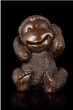 2015 New Year Lucky Gifts Antique Bronze Little Monkey Sculpture Chinese Zodiac Mascot Statue fengshui  Art Collections