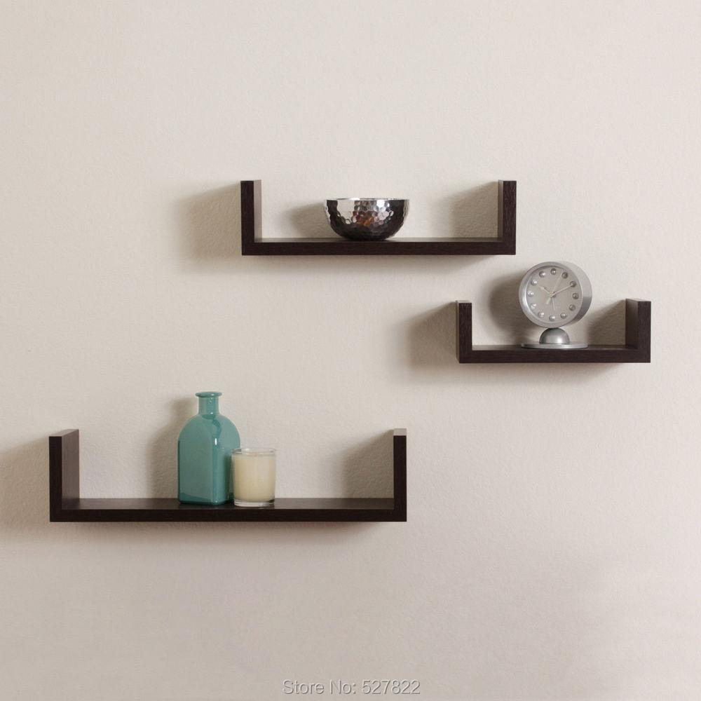elegant floating shelves u walnut brown finish set of 3 shelf modern rh aliexpress com ikea floating shelves brown floating shelves dark brown