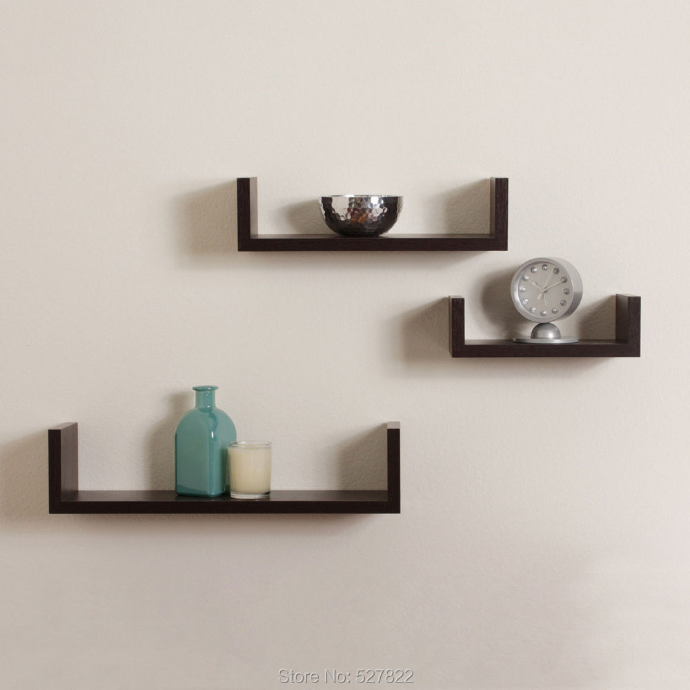comprar elegante flotante estantes u walnut brown acabado grupos de estante moderno home descripcin de floating shelf fiable proveedores