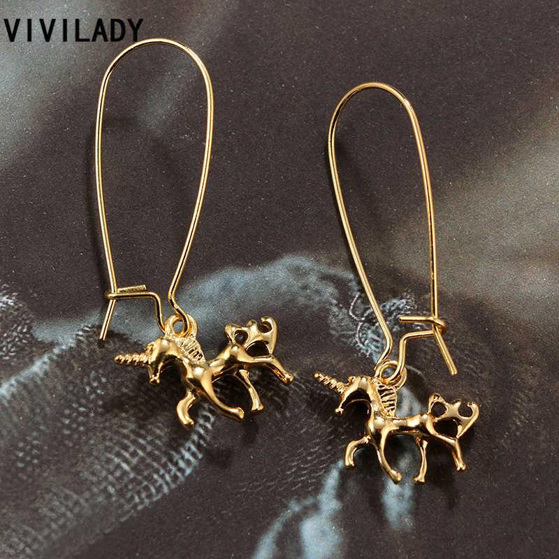 VIVILADY 2018น่ารักสีทองยูนิคอร์นสัตว์ห่วงต่างหูPendientes MujerหญิงB Rincoม้าสัตว์หูเครื่องประดับพรรคของขวัญ