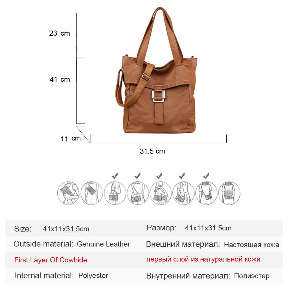 628f9ffc58a 100% Genuine Leather Large Brown Women Shoulder Bag Lady Big Tote Bag  Classic Coffee Female Shoulder Bags Shopping Purse