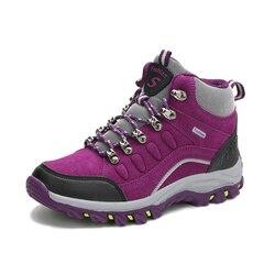 DUDELI Winter High Top Women Hiking Waterproof Trekking Boots Mountain Climbing Shoes Sports Rubber Sole Shoes Nubuck Men Couple