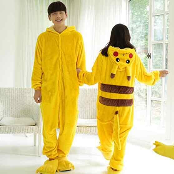 Взрослый Пикачу костюмы Onesie унисекс животных косплэй костюм покемон  Пикачу пижамы Пижама с капюшоном Pijama a28e320cf2a58