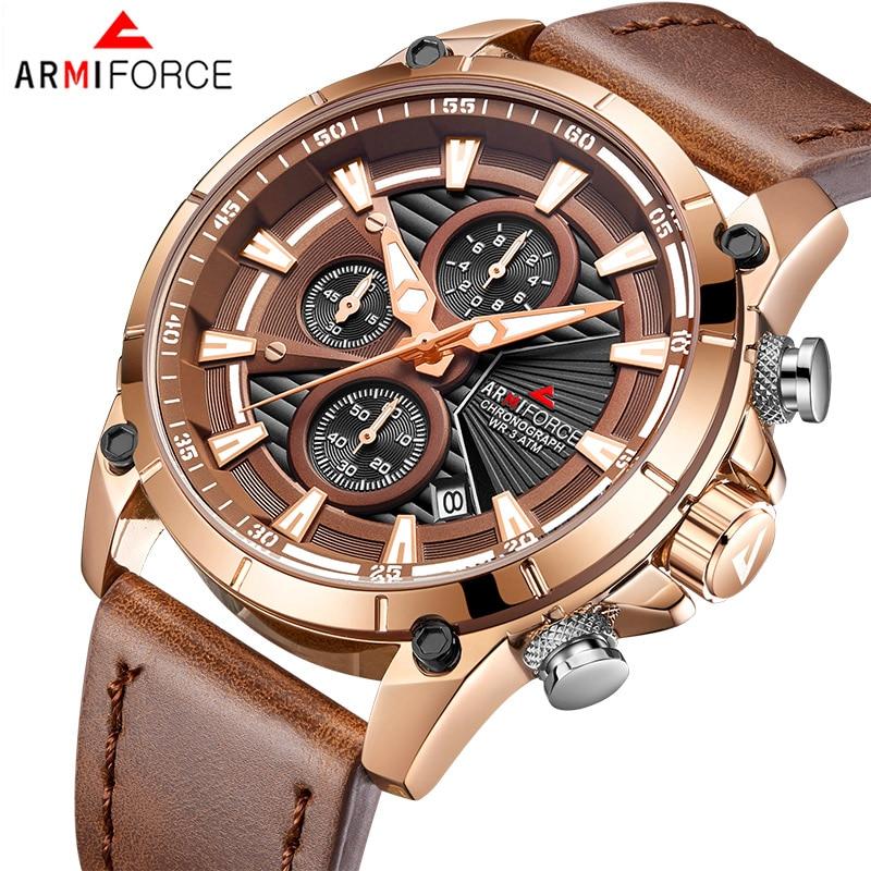 Men's Watches ARMIFORCE Luxury Brand Fashion Sport Watch Men Leather Waterproof Chronograph Quartz Clock Relogio Masculino цена