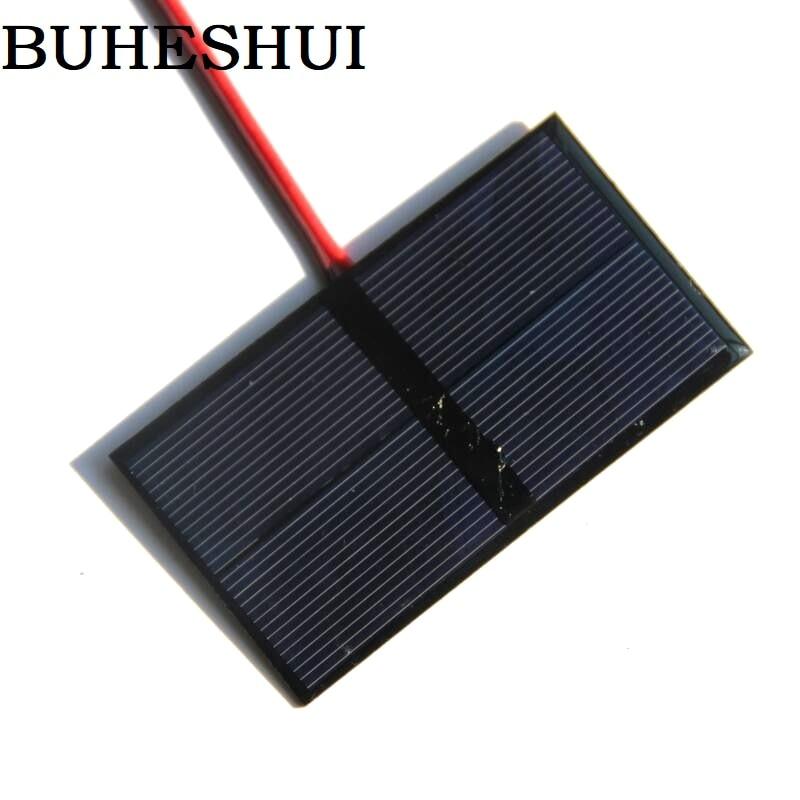 BUHESHUI 0.5W <font><b>1V</b></font> Mini Solar Panel Polycrystalline Solar Cell+Cable DIY Solar System Battery Charger For <font><b>Led</b></font> Light Study 80*45MM