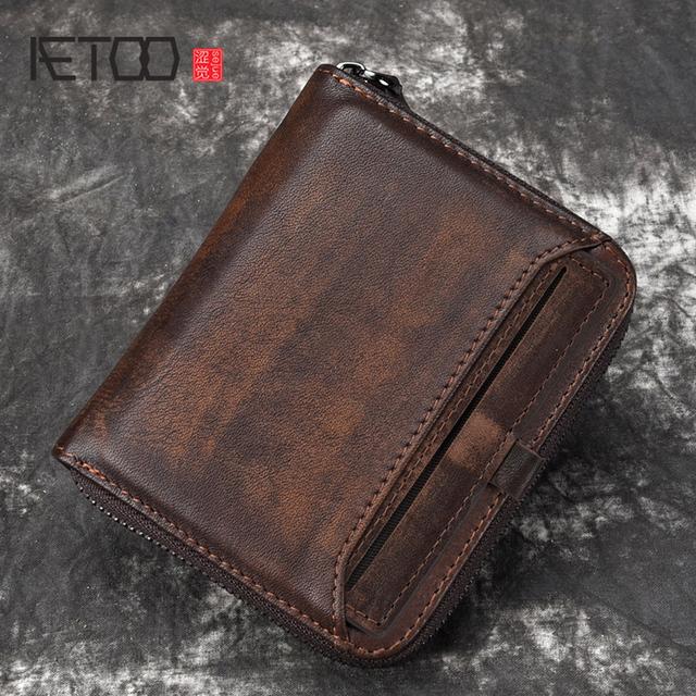 AETOO portfel człowiek krótki głowy warstwy skóry wołowej klip na pieniądze męskie portfel w stylu retro pionowe zamek casual młodzieżowe mały portfel tanie tanio Prawdziwej skóry Skóra bydlęca zipper Kieszonka na monety Uwaga przedziału Posiadacz karty Standardowe portfele 11cm