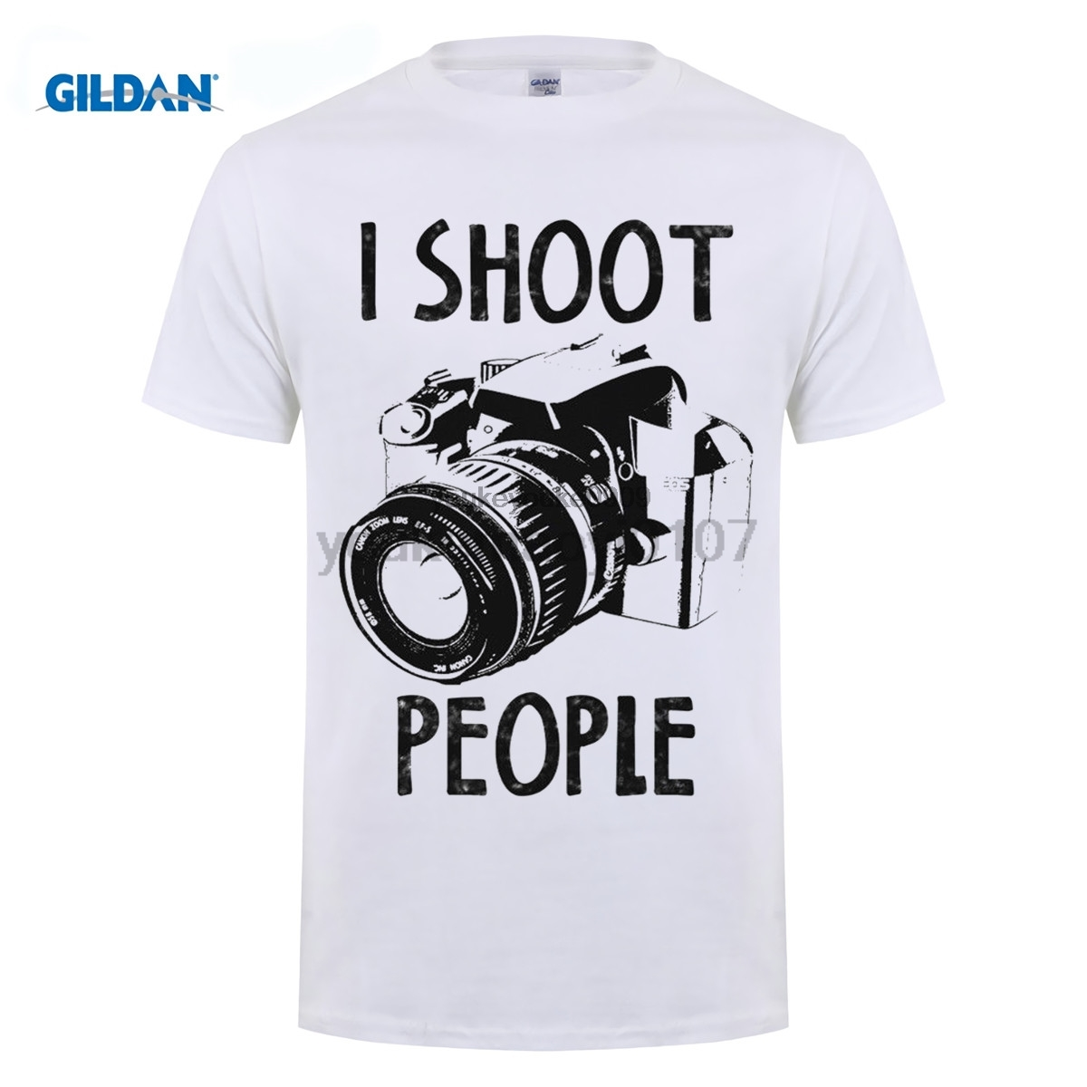 GILDAN 100% Cotton For Shirts O-Neck Graphic Short Sleeve I Shoot People Funny Photograp ...