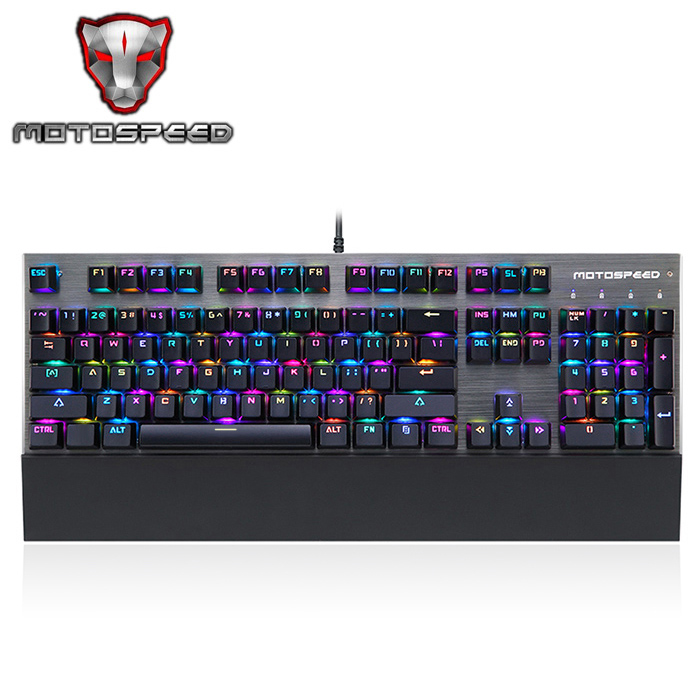 Motospeed CK108 Mechanical Keyboard USB Wired Gaming Keyboard Blue/Black Switch with 18 Backlight Mode for Desktop Laptop Gamer original motospeed ck108 rgb blue switch mechanical russian keyboard gaming wired led backlit backlight for gamer pc desktop