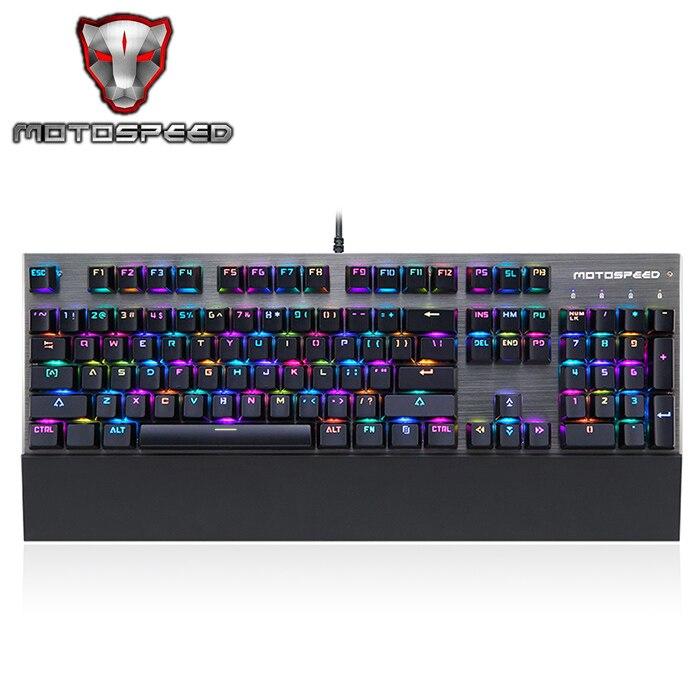 Motospeed CK108 Mechanical Keyboard USB Wired Gaming Keyboard Blue/Black Switch with 18 Backlight Mode for Desktop Laptop Gamer