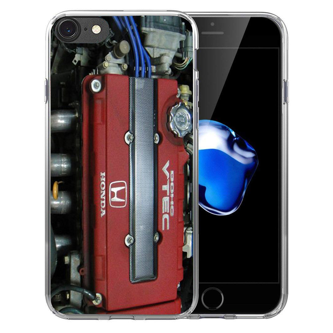 For iPhone X 8 7 7Plus 6 6S Plus 5 5S SE Soft Silicone TPU case JDM Car For honda engine Clear Coque shell