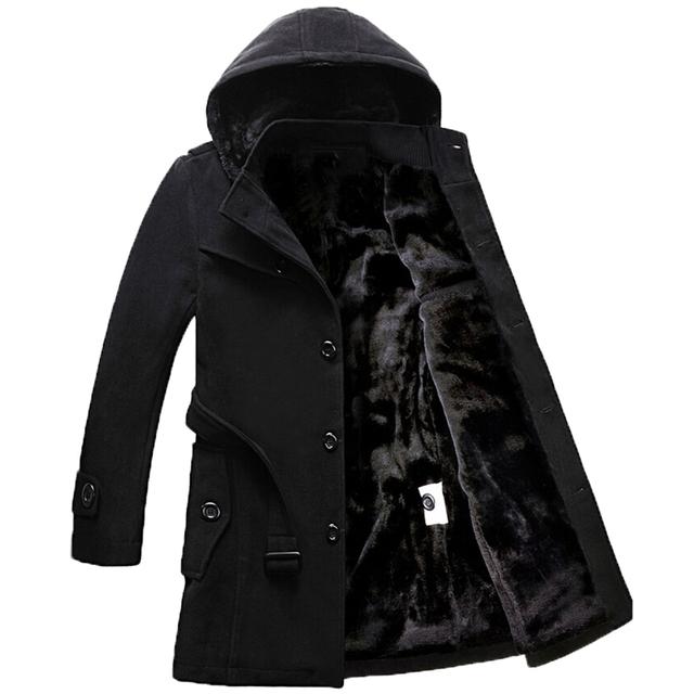 Vogue Anmi. Long Lã Casacos mais grossos mais longos plus size casacos Mens Casaco de Inverno Casaco jaqueta corta-vento dos homens mais grosso S-4XL