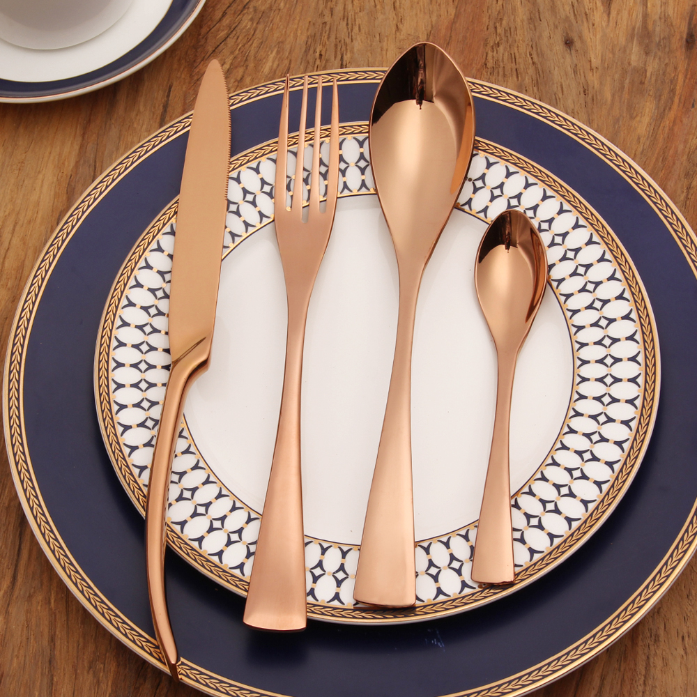 lekoch 18 10 stainless steel cutlery rose gold flatware set dinner forks knives spoons set. Black Bedroom Furniture Sets. Home Design Ideas