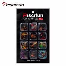 Piscifun 12pcs Dry Flies Fly Fishing flies Kit Bass Salmon Trouts Flies Floating Fishing Lures Fishing