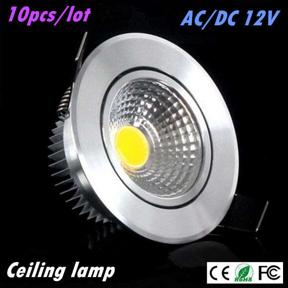 10pcs Super Bright Led downlight light COB Ceiling Spot Light 3w 5w 7w AC DC 12V