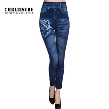 CHRLEISURE New Woman Fashion Jeans Print Denim Ankle-Length Polyester Jeans Mid Waist Spandex Straight Slim Jeans Women Leggings