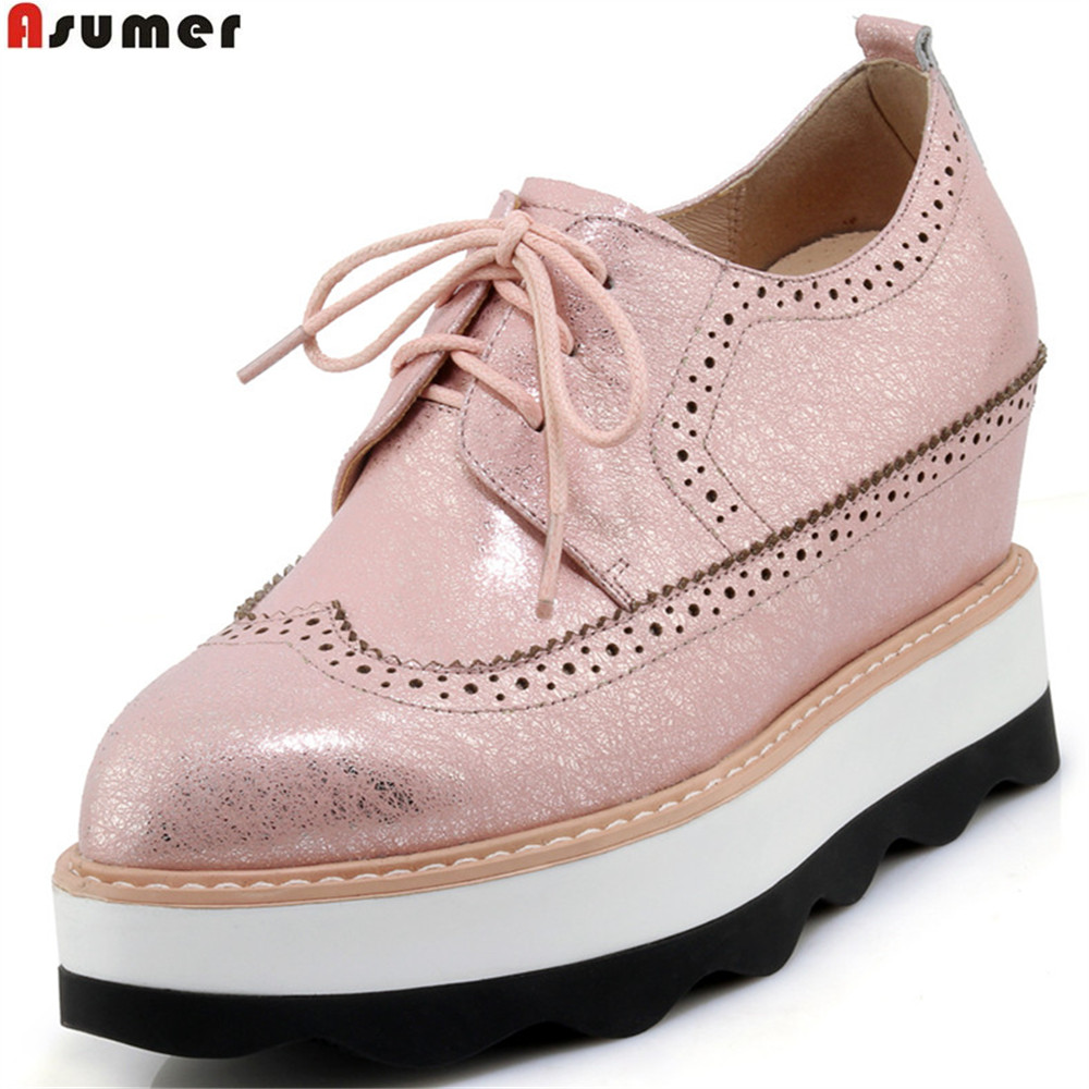 ASUMER pink silvery round toe lace up spring autumn ladies single shoes platform women genuine leather high heels shoes asumer pink silvery round toe lace up spring autumn ladies single shoes platform women genuine leather high heels shoes