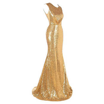 2019 Mermaid Evening Dresses Scoop Neck Sleeveless Gold Sequins Women Formal Party Dresses Hollow Back Trumpet Evening Gowns - DISCOUNT ITEM  40% OFF All Category