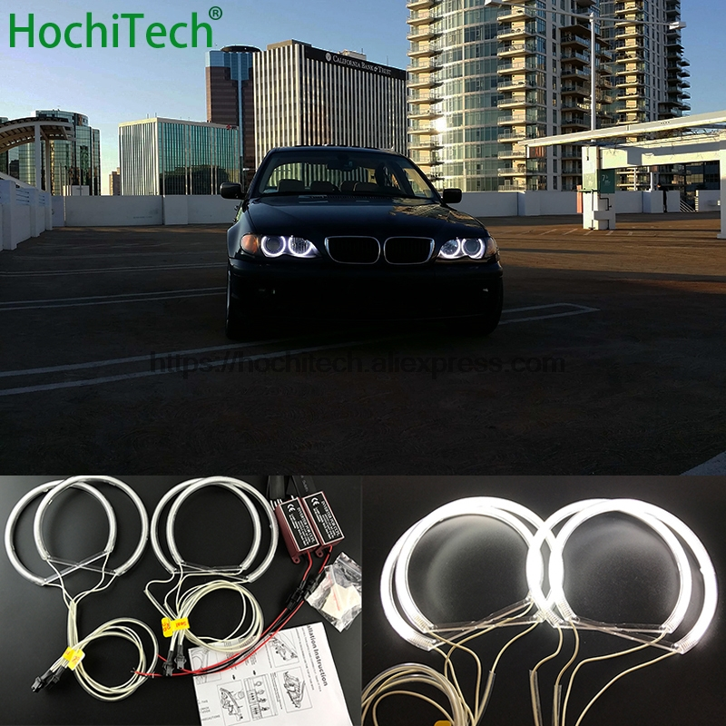 HochiTech for BMW 1998-2005 E46 sedan touring with PROJECTORS car styling Ultra Bright CCFL Angel Demon Eyes Kit White Halo Ring hochitech white 6000k ccfl headlight halo angel demon eyes kit angel eyes light for vw volkswagen golf 5 mk5 2003 2009