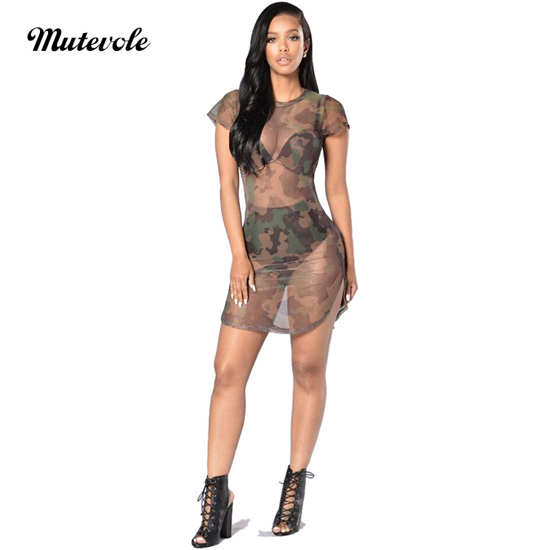 Mutevole See Through Mesh <font><b>Transparent</b></font> Mini <font><b>Dress</b></font> Women Camouflage Printed Summer Beach <font><b>Dress</b></font> Short Sleeve <font><b>Sexy</b></font> <font><b>Night</b></font> Party <font><b>Dress</b></font> image