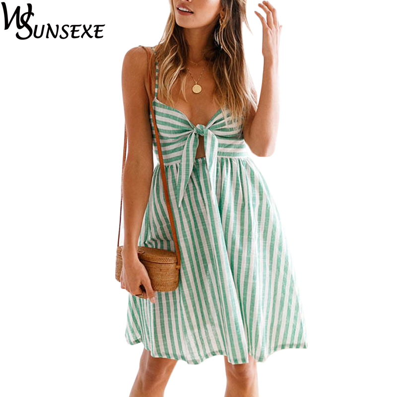 Front Bow Knot Striped Spaghetti Strap <font><b>Dress</b></font> <font><b>Sexy</b></font> V Neck <font><b>Summer</b></font> Casual High Waist <font><b>Dresses</b></font> <font><b>2018</b></font> <font><b>Summer</b></font> Fashion <font><b>Boho</b></font> Chic Vestido image