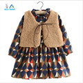 AiLe Rabbit  Girls Clothes Winter Diamond Plaid Thick Children Clothing Fashion Lamb's Wool Fur Vest + kids Dress Clothing Sets